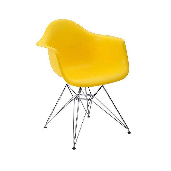 Cadeira Eiffel Assento Polipropileno Amarelo Pés Cromados