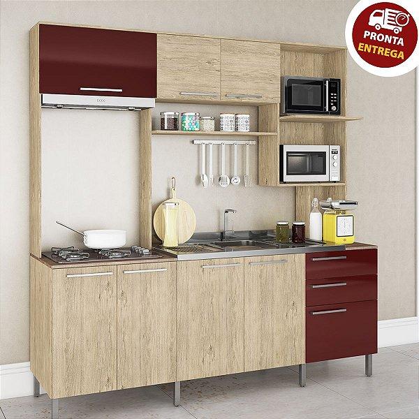 Cozinha Compacta Completa Monaco - Carvalho/Bordo Arte Cass