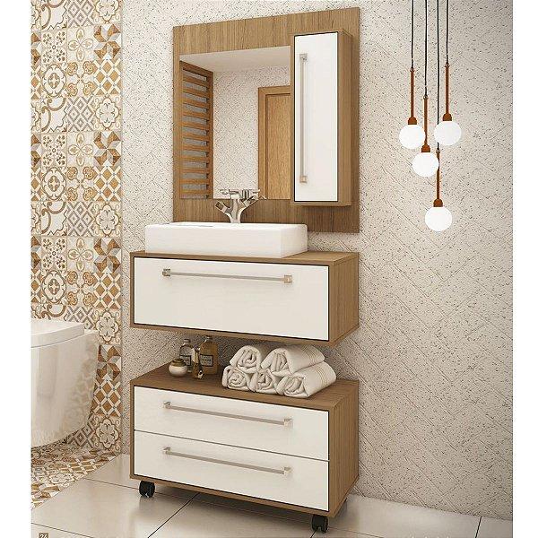 Conjunto de Banheiro Completo Grécia - Balcão, painel e cuba - Sem espelho