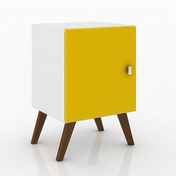 Criado Mudo com Nicho 1 Porta Rt3012 - Branco/Amarelo