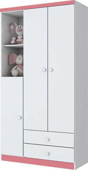 Roupeiro Infantil Bala de Menta 3 Portas 2 Gavetas - Branco/Rosa