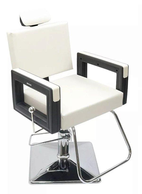Poltrona Cadeira Reclinável P/ Barbeiro Maquiagem Salão - Branco Pérola