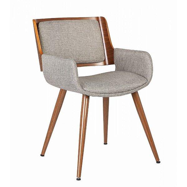 Cadeira Poltrona Sueli Madeira Nogueira Assento E Encosto Pu - Linho Marrom / Mescla