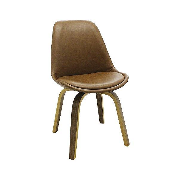 Cadeira Lis Com Assento Em Polipropileno E Almofada Fixa - PU Marrom