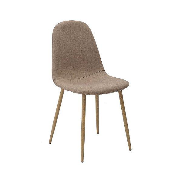 Cadeira Tânia Pés Em Metal Assento Madeira Tecido - Linho Caqui / Clara
