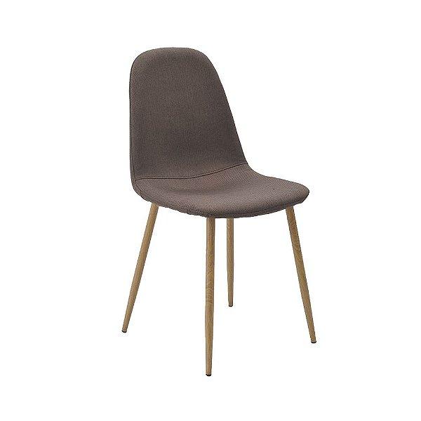 Cadeira Tânia Pés Em Metal Assento Madeira Tecido - Linho Marrom / Clara