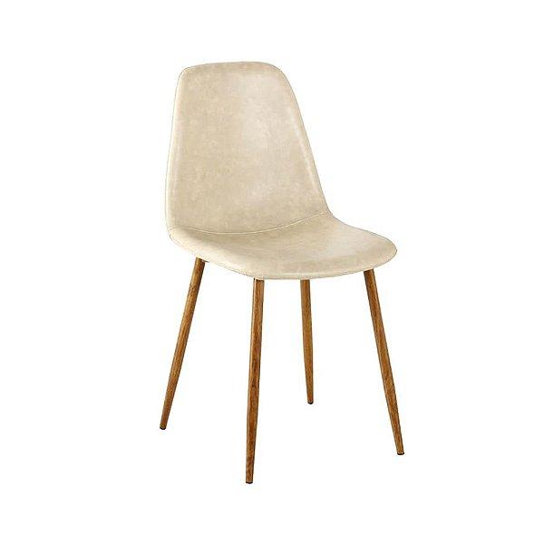 Cadeira Tânia Pés Em Metal Assento Madeira Tecido - PU Bege / Clara