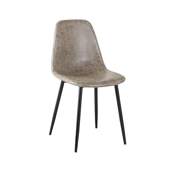 Cadeira Tânia Pés Em Metal Assento Madeira Tecido - PU Cinza/Preta