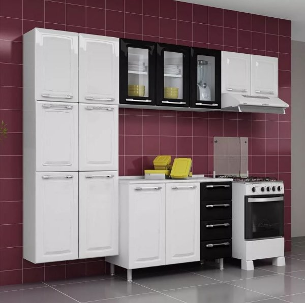 Cozinha Aço Completa Criativa C/ Gabinete Tampo Aéreo Vidro Preto Branca