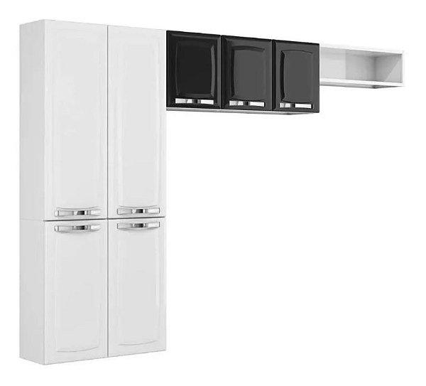 Cozinha Aço Compacta 7 Portas Aéreo Rose Branco Preto