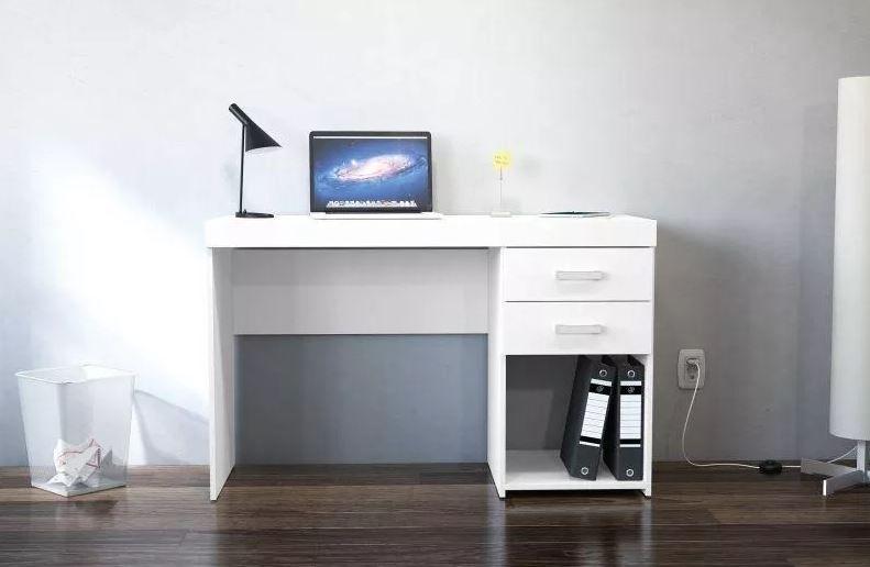 Mesa Para Escritório Computador 2 Gavetas 1 Nicho Malta Branco