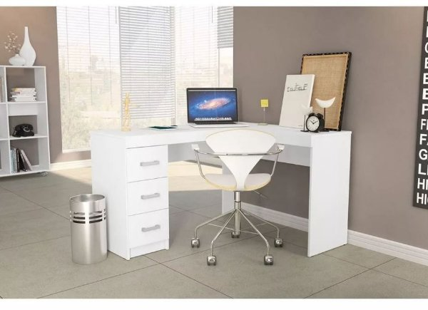 Mesa de Canto em L para Computador 3 Gavetas Fênix Branco