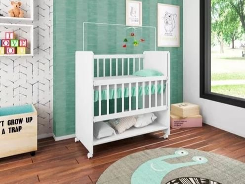 Mini Berço Infantil Bedside Sleepers Soninho Branco Luxo Design