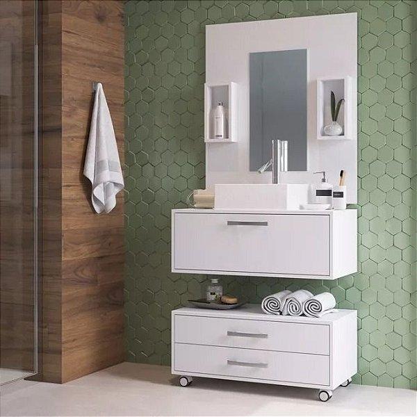 Gabinete P/ Banheiro Completo Cuba Painel Balcão - Branco