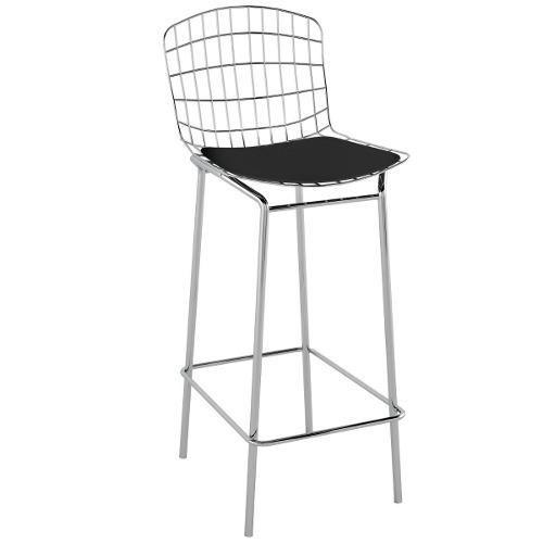 Banqueta Cadeira Bertóia Aço Cromada Alta Aramado C/ Assento
