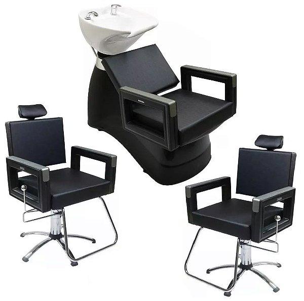 2 Cadeiras Reclinável + 1 Lavatório Porcelana Square Dompel