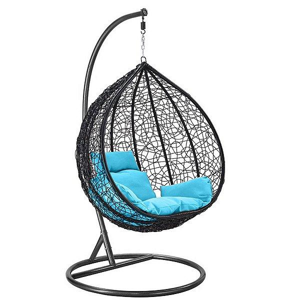 Cadeira Balanço Suspenso Poltrona Rede Teto Ovo Varanda Sacada Jardim - Preto Azul