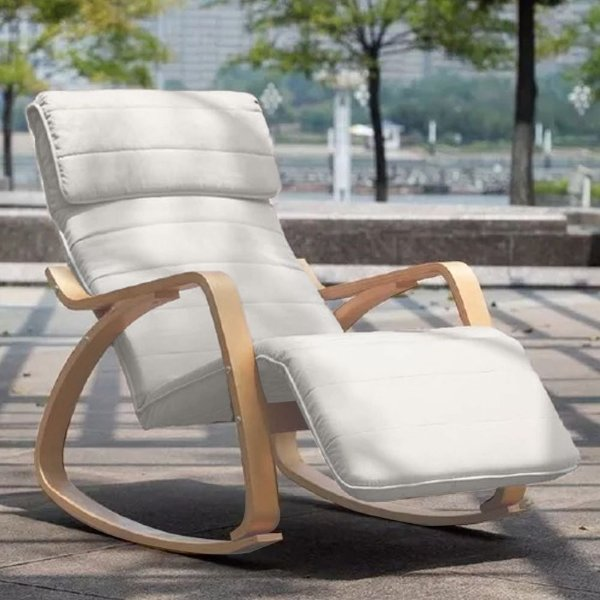 Cadeira Balanço Poltrona Papai Madeira Moderna Lucci