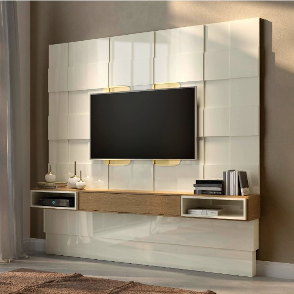 Painel Home 3D Suspenso C/ Led Para Tv Até 75 Off White Carvalho Tb126L Dalla Costa