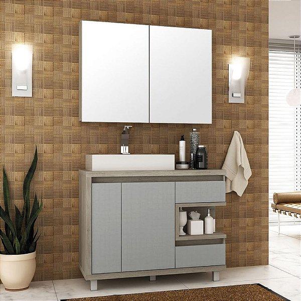 Conjunto Gabinete Banheiro Balcão Completo Cuba Espelho 100cm Malbec Bosi