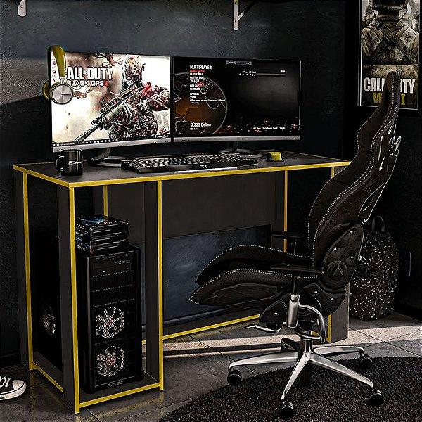 Mesa Gamer Escrivaninha Singapura 1 Nicho - Preto/amarelo