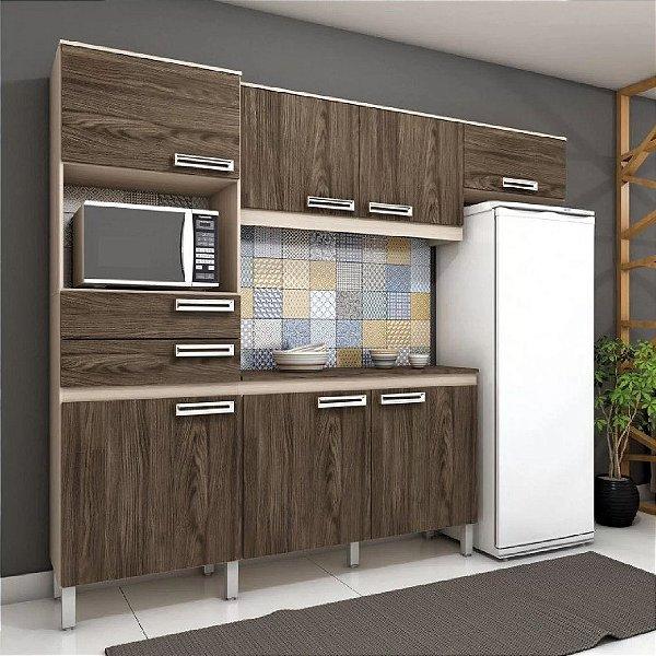 Cozinha Compacta C/ Gabinete Tampo Balcão Armário Aéreo - Fendi/Moka