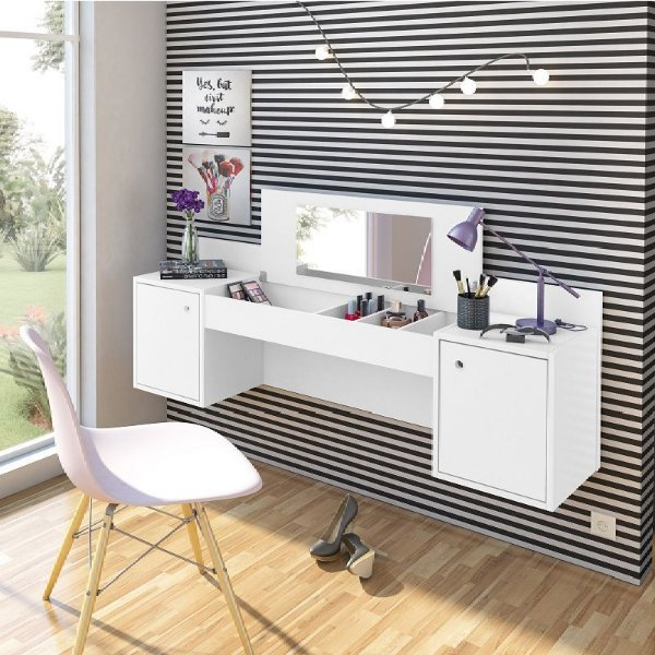 Penteadeira Camarim Escrivaninha Suspenso com Espelho Branco