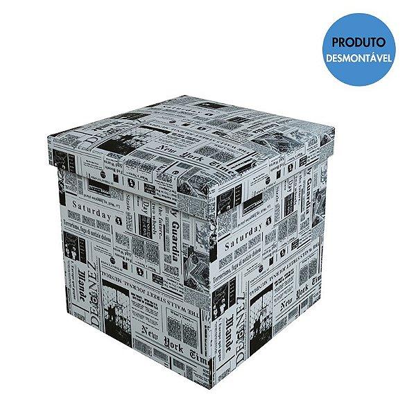 Puff Baú Quadrado Desmontável 38x38 Cm - Jornal