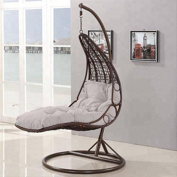 Cadeira Balanço Poltrona Sala Jardim P/ Deitar Leitura C/ Suporte