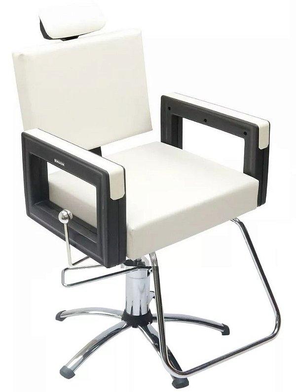 Poltrona Cadeira Reclinável P/ Barbeiro Maquiagem Salão - Branca Pérola Square