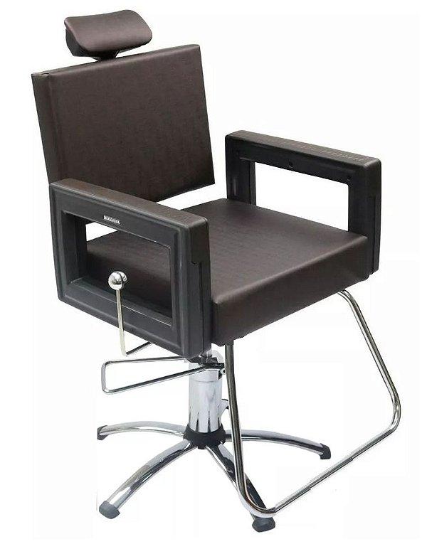 Poltrona Cadeira Reclinável P/ Barbeiro Maquiagem Salão - Marrom Tabaco Square