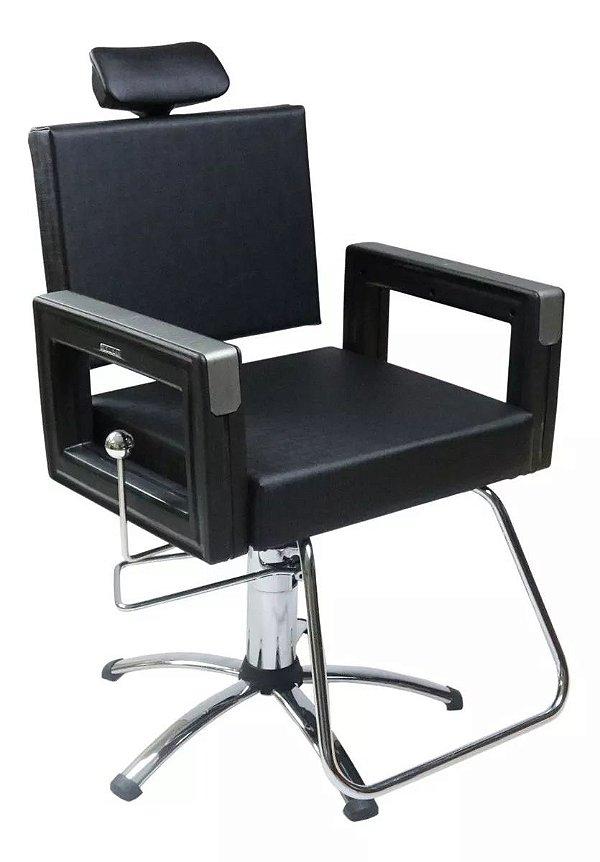 Poltrona Cadeira Reclinável P/ Barbeiro Maquiagem Salão - Preta Square