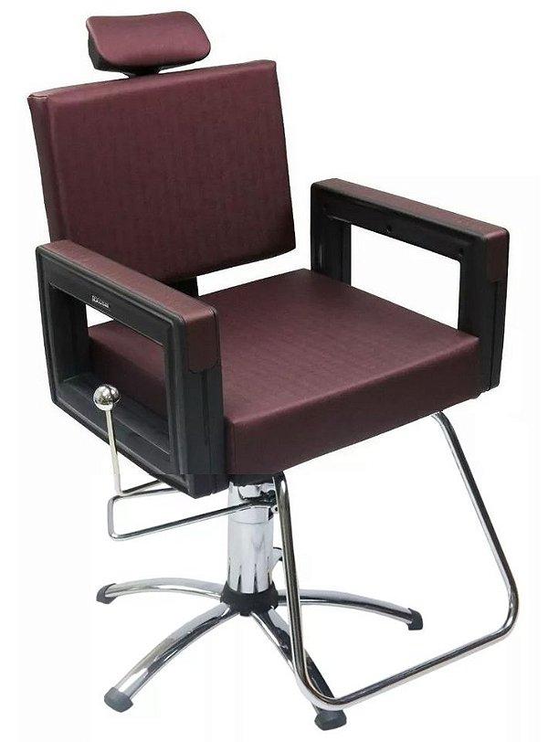 Poltrona Cadeira Reclinável P/ Barbeiro Maquiagem Salão - Vinho Square