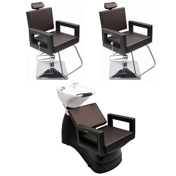 Kit 2 Cadeiras + Lavatório Porcelana Móveis Salão Beleza Dompel Marrom Tabaco
