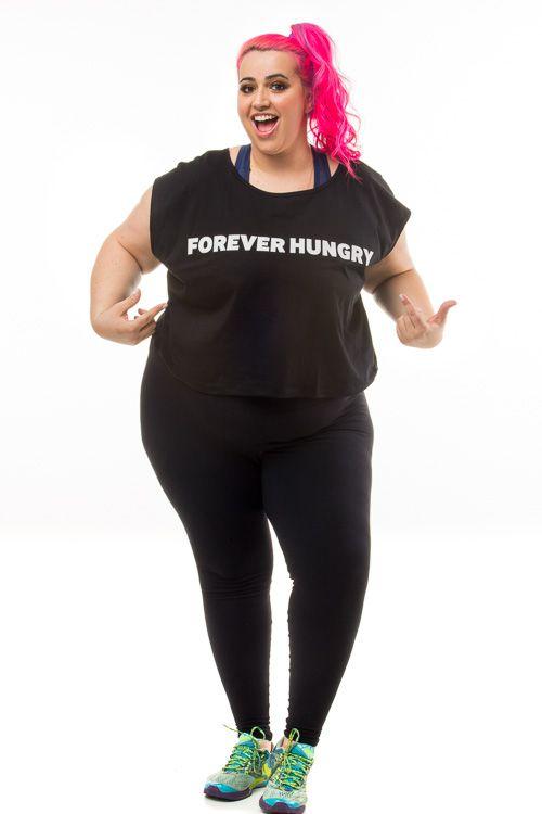 Cropped Plus Size Forever Hungry Regata (Tradução: Sempre Faminta)
