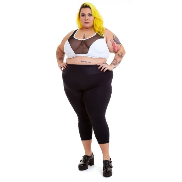 Top Plus Size Branco Emana Plus com Tule