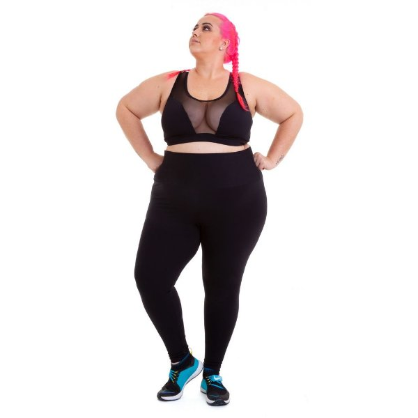 Top Plus Size Preto Emana Plus com Tule