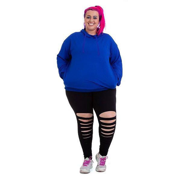 Moletom Plus Size Azul Básico