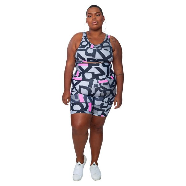 Bermuda Plus Size Joana Dark - Emana Plus Estampada Gerusa
