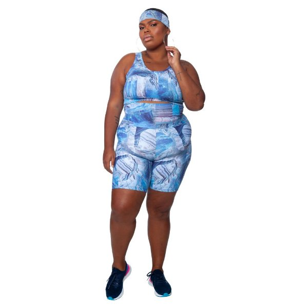 Bermuda Plus Size Joana Dark - Emana Plus Estampada Bianca