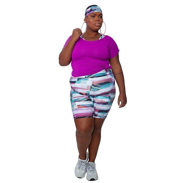 Bermuda  Plus Size Joana Dark - Emana Plus Estampada Indi