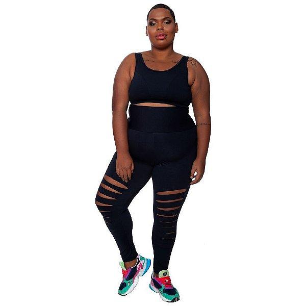 Legging Plus Size Estiletada Joana Dark - Emana Plus Preto