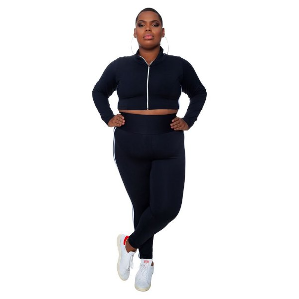 Legging Plus Size Joana Dark  - Emana Plus Faixas Branca
