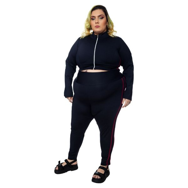 Legging Plus Size Joana Dark  - Emana Plus Faixas Bordô