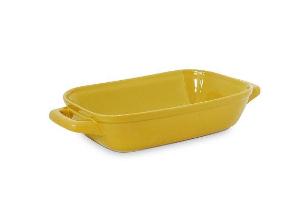 Assadeira com alça - 28 x 18cm - Amarelo - MondoCeram Gourmet