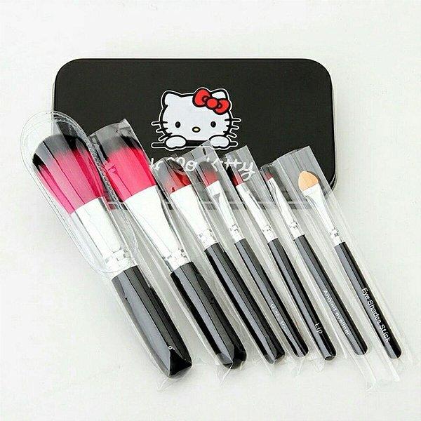 Kit Pincéis De Maquiagem Hello Kitty 7 Pincéis