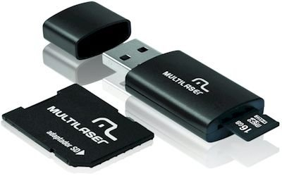 CARTAO DE MEMORIA CLASSE 10 MC112 16GB C/ ADAPTADOR E LEITOR USB MULTILASER