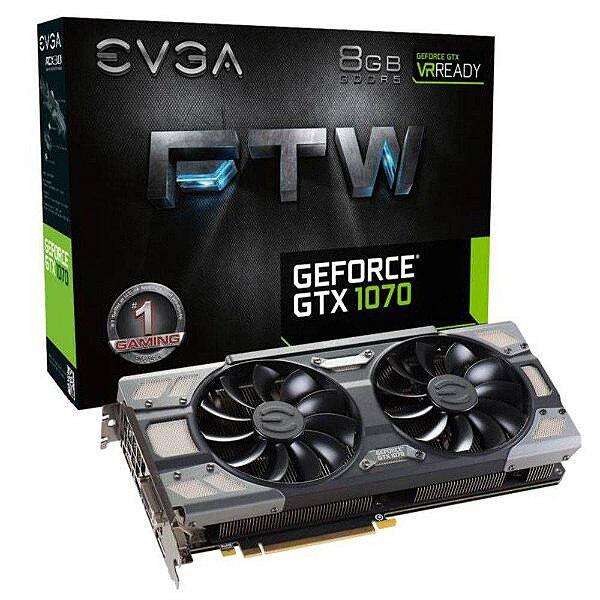 PLACA DE VIDEO 8 GB PCIEXP GTX 1070 08G-P4-6276-KR GDDR5 GEFORCE 256 BIT DVI/HDMI/DP EVGA