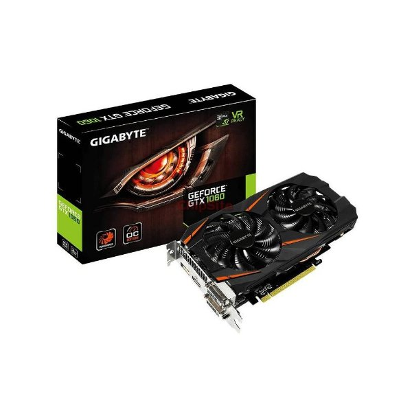 PLACA DE VIDEO 6GB PCIEXP GTX 1060 GV-N1060WF20C-6GD 192 BITS GDDR5 GEFORCE GIGABYTE
