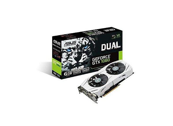 PLACA DE VIDEO 6GB PCIEXP GTX 1060 DUAL-GTX1060-O6G 192 BITS DDR5 DVI/HDMI/DP ASUS